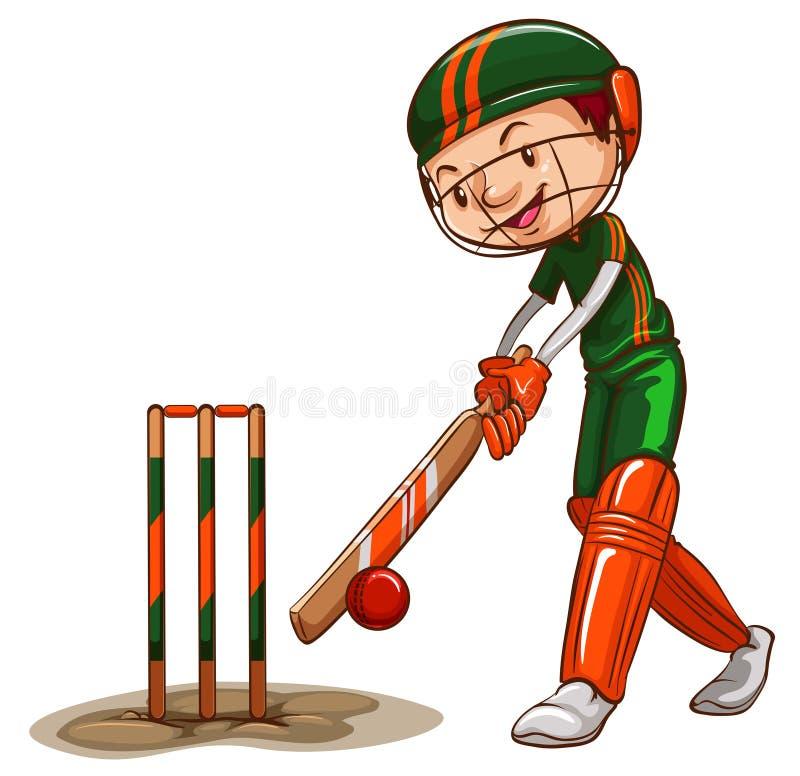 Un giocatore maschio del cricket illustrazione vettoriale