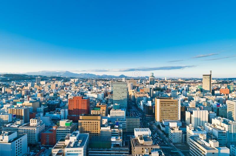 Un giorno pieno di sole freddo a Sendai Giappone fotografie stock