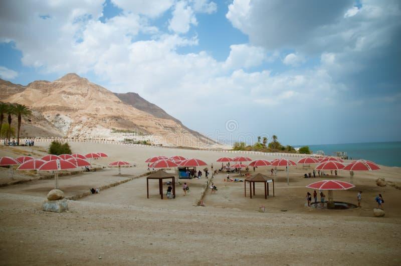 Un giorno soleggiato piacevole alla località di soggiorno del mar Morto l'israele immagini stock