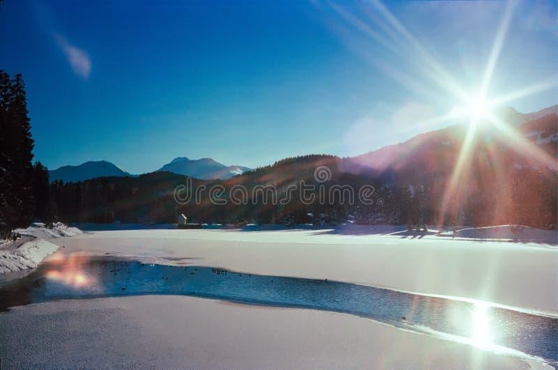 Un giorno soleggiato su un lago congelato sulle alpi svizzere, colpo con fotografia analogica del film fotografia stock libera da diritti