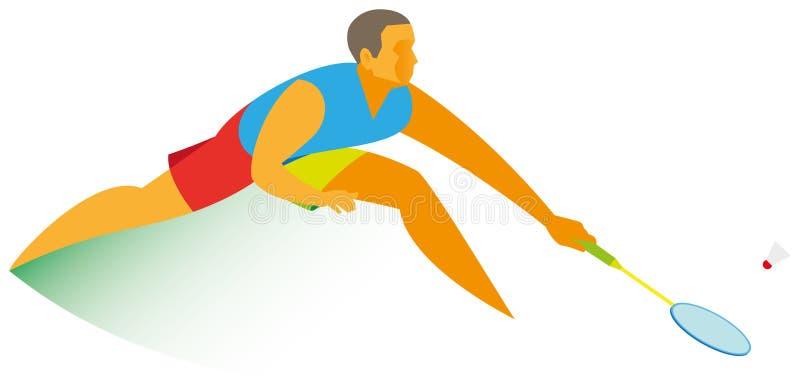 Un giovane atleta con esperienza - un giocatore di volano - sta preparando illustrazione vettoriale