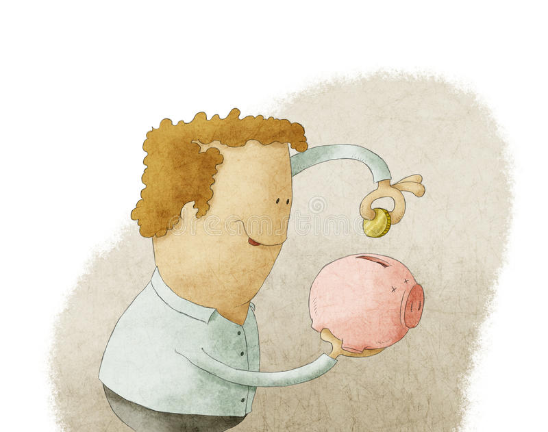 Giovane che mette moneta in un porcellino salvadanaio illustrazione vettoriale