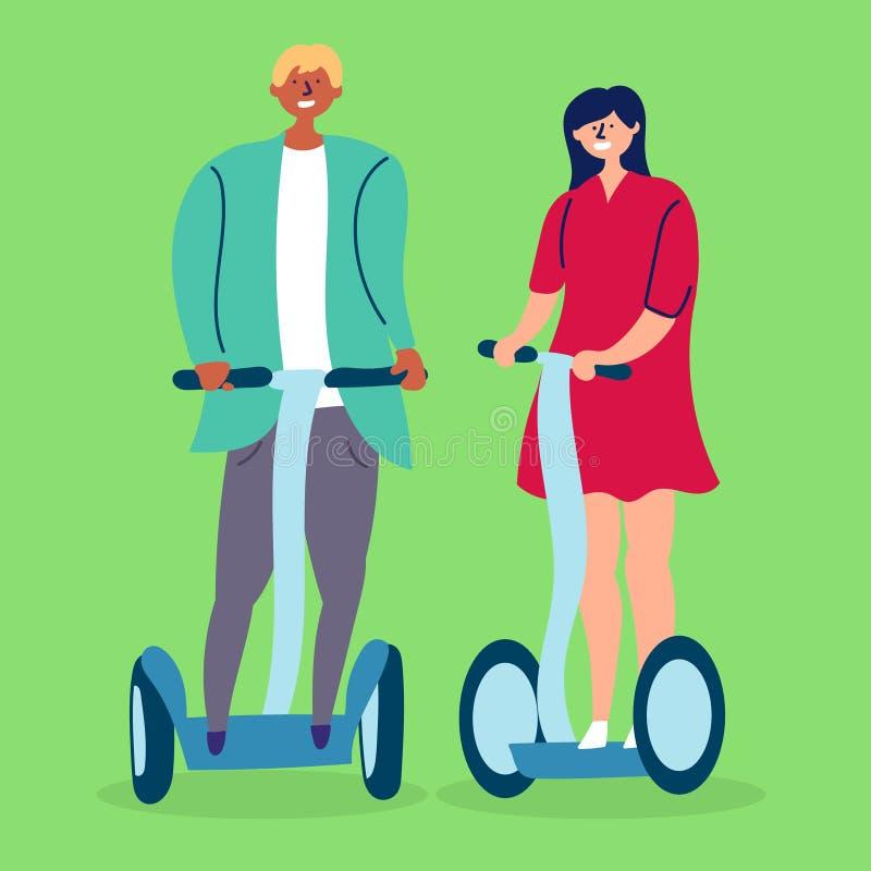 Un giovane giro della ragazza e del ragazzo delle coppie sui segways illustrazione di stock