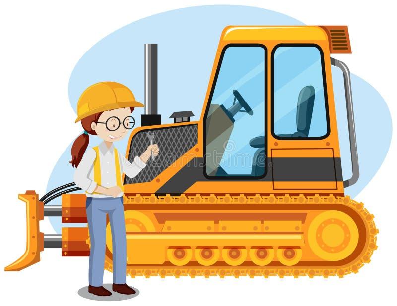 Un giovane meccanico Engineer su fondo bianco royalty illustrazione gratis