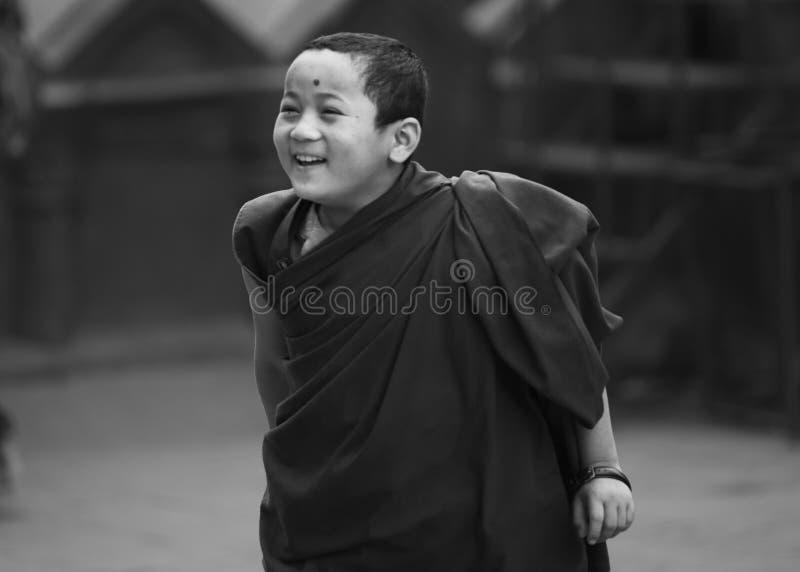 Un giovane monaco tibetano felice del principiante, Kathmandu, Nepal fotografia stock