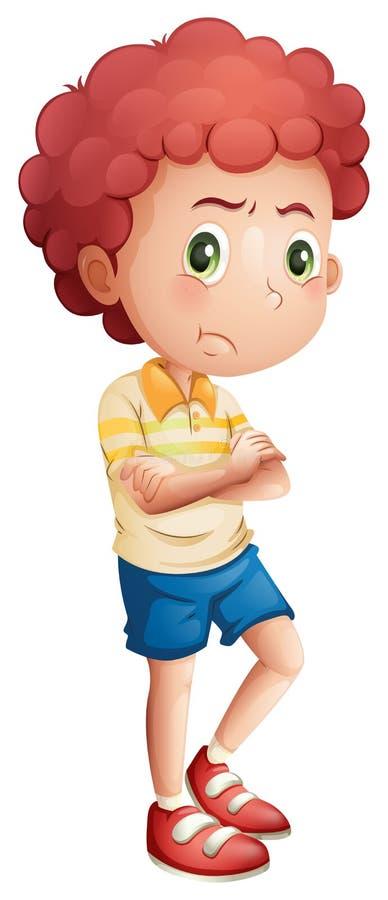Un giovane ragazzo arrabbiato illustrazione di stock