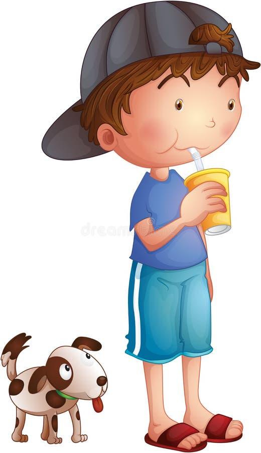 Un giovane ragazzo che beve accanto ad un cucciolo sveglio royalty illustrazione gratis