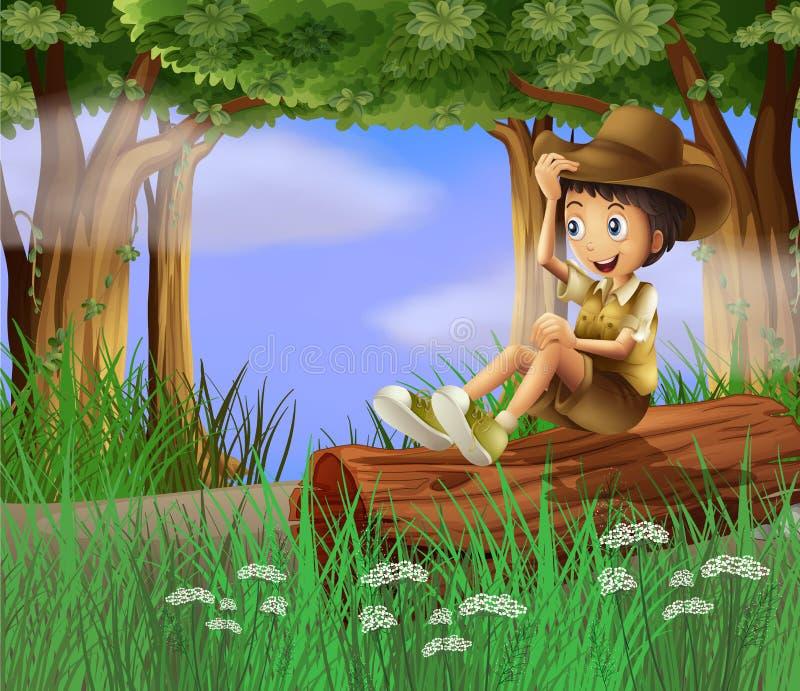 Un giovane ragazzo con un cappello che si siede al tronco illustrazione vettoriale