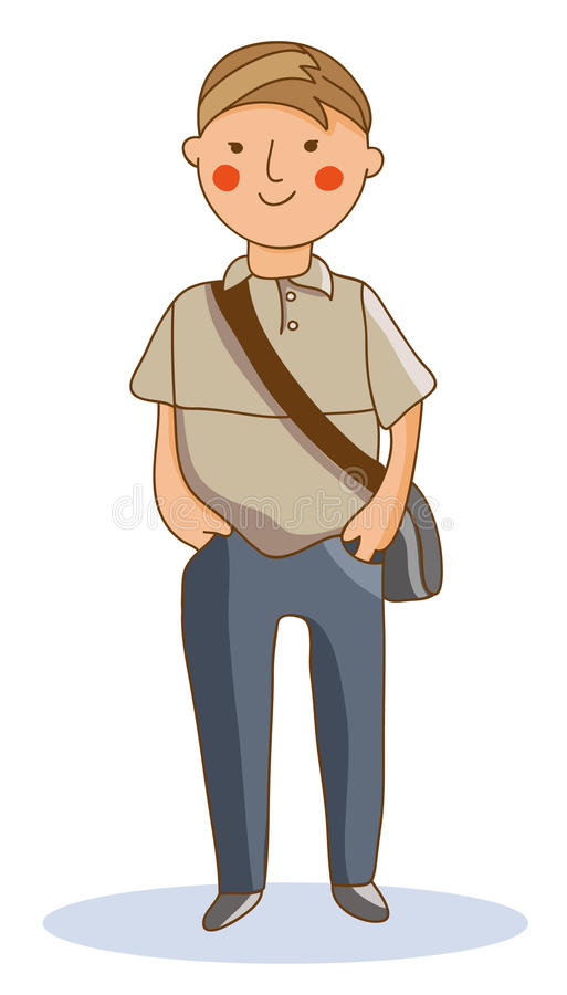 Un giovane in una camicia di polo, jeans, tiene le mani in tasche e nella s illustrazione vettoriale