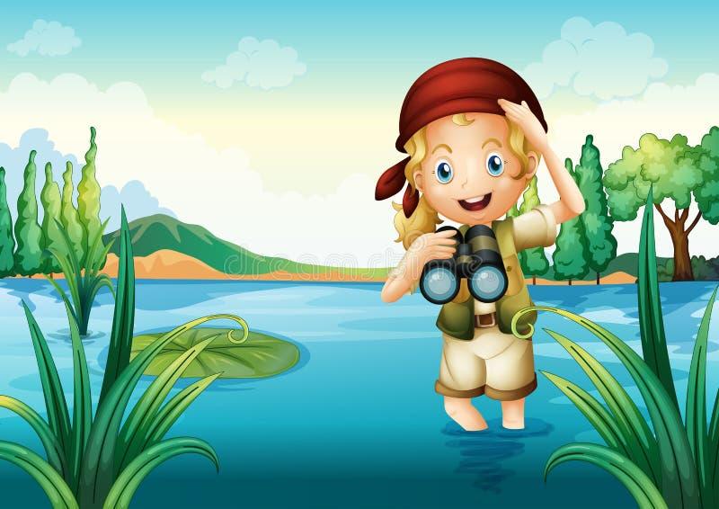 Un girl scout en el lago stock de ilustración
