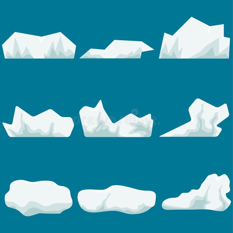 Un glaciar, un pedazo de hielo iceberg Pedazos grandes realistas del hielo stock de ilustración
