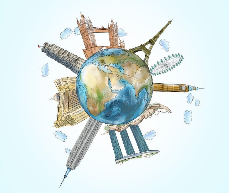 Un globe avec les endroits célèbres esquissés Le concept du déplacement et de la visite touristique illustration libre de droits