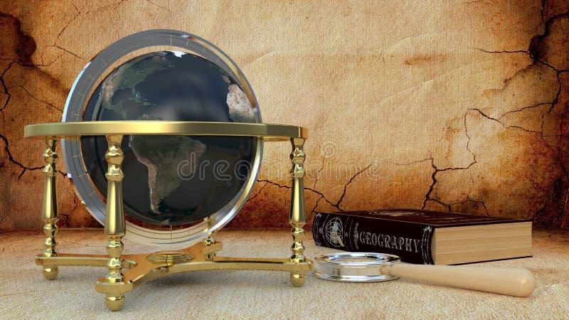 Un globe avec un livre et une loupe image stock