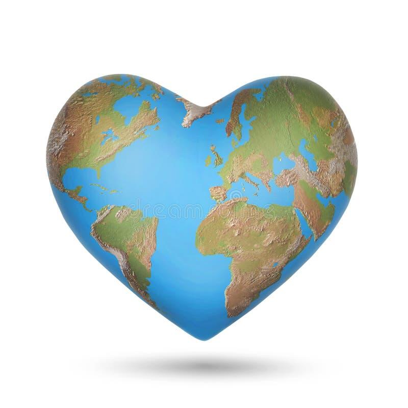 Un globo del mondo sotto forma di un cuore illustrazione di stock