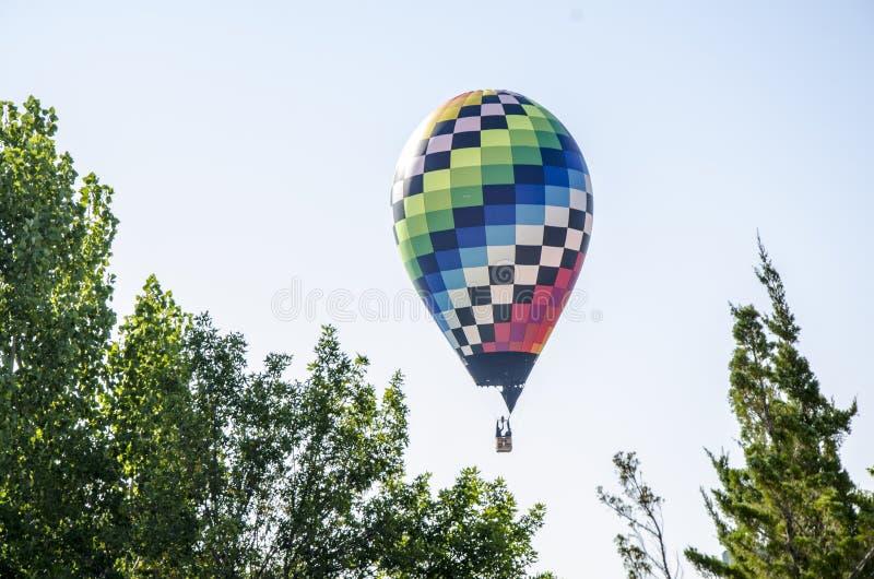 Un globo grande del aire caliente bajo con el ` s del árbol imagen de archivo