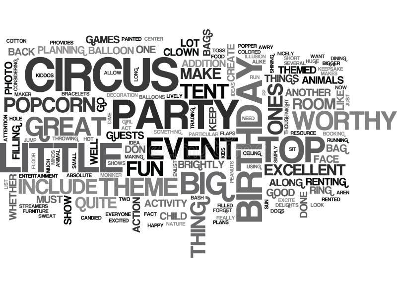 Un golpe del cumpleaños del circo digno de la nube de la palabra del top grande libre illustration