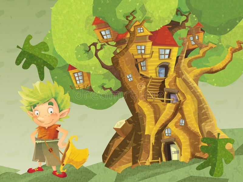 Un gráfico fantástico grande - del árbol - casa para los enanos y las hadas stock de ilustración