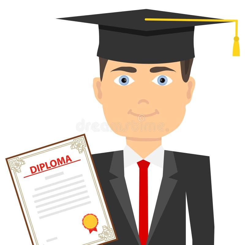 Un graduado en un sombrero graduado del ` s con un diploma El concepto de educación ilustración del vector