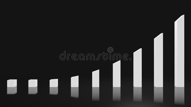 Un grafico in aumento tagliente bianco illustrazione vettoriale