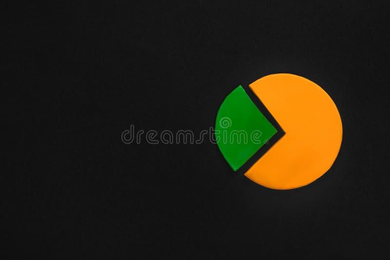 Un grafico di cerchio fatto da plasticine su fondo nero su fondo nero, ha sparato da sopra, allineato alla destra fotografia stock libera da diritti