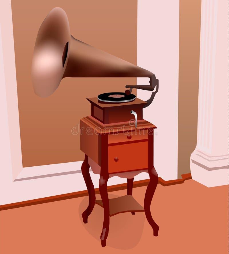 Un grammofono antico nella stanza del secolo scorso royalty illustrazione gratis
