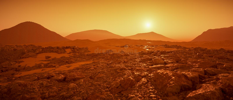 Un gran día en la representación de Marte 3d ilustración del vector
