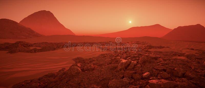 Un gran día en la representación de Marte 3d stock de ilustración
