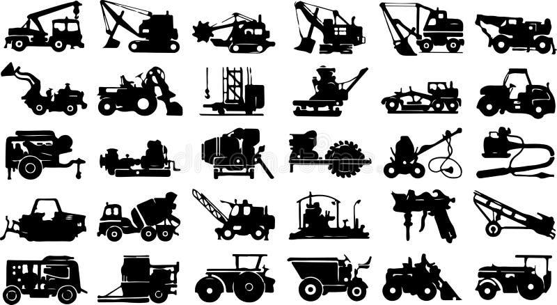 Un gran número de iconos de la construcción y del equipo agrícola en un fondo blanco libre illustration