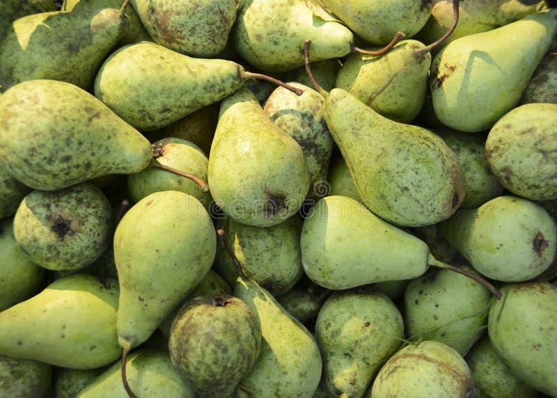 Un gran número de peras verdes orgánicas Alimento sano Frutas imágenes de archivo libres de regalías