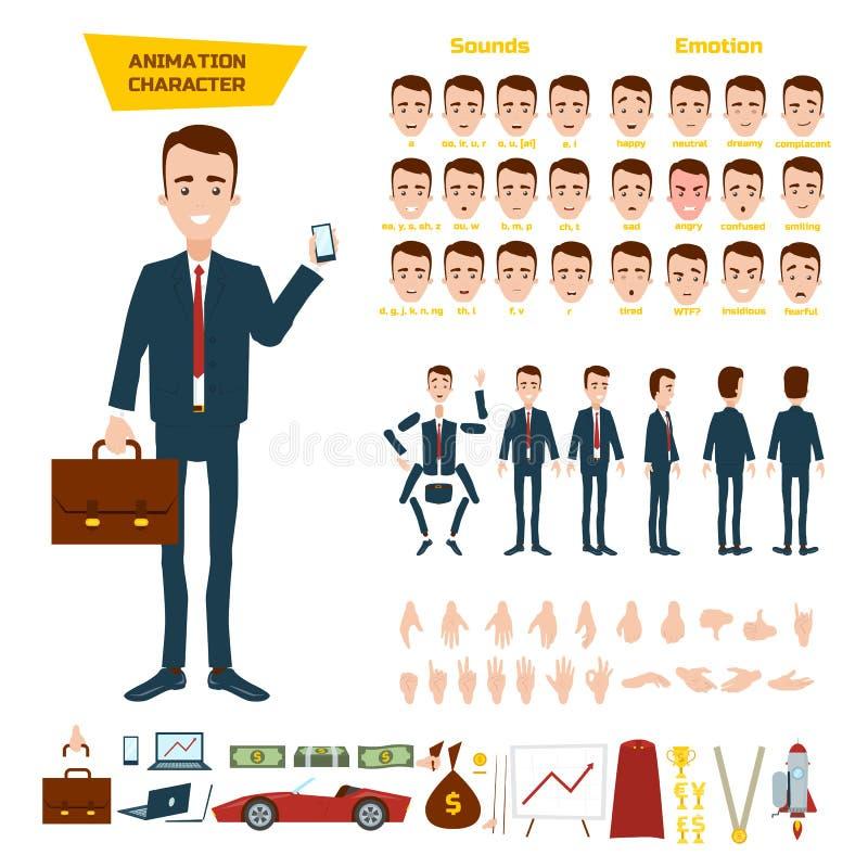 Un gran sistema para la animación de un carácter del hombre de negocios en un fondo blanco Animación de los sonidos, emociones, g ilustración del vector