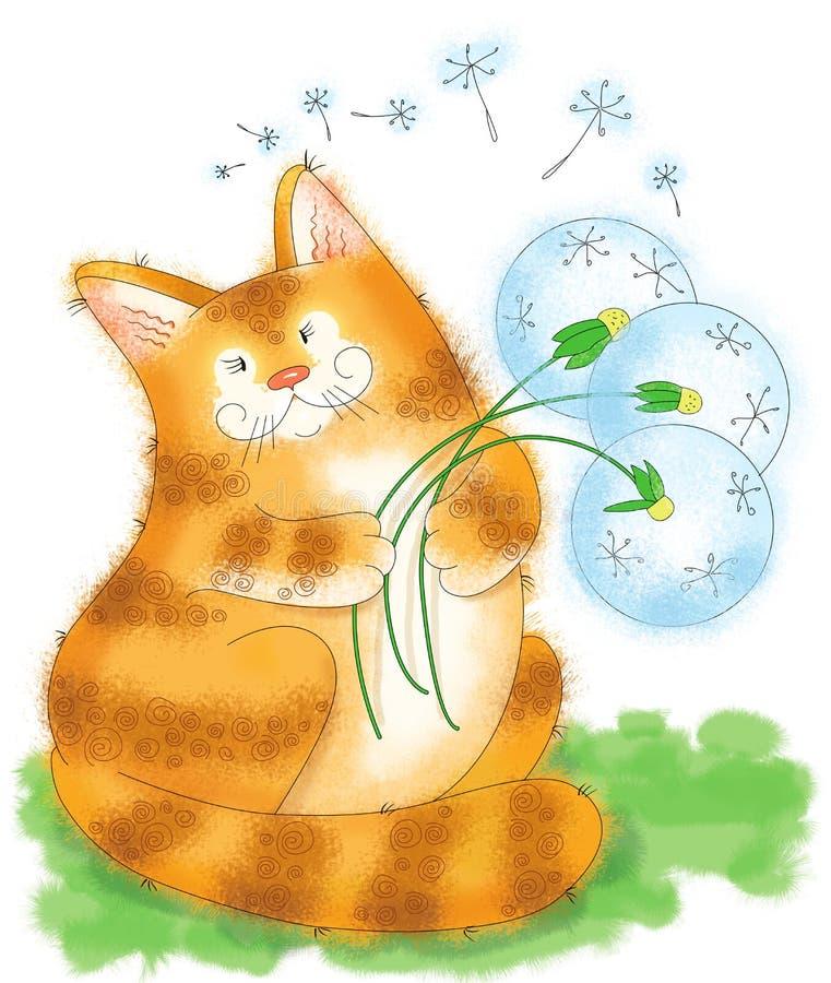 Un grand chat de gingembre et un bouquet des pissenlits photographie stock