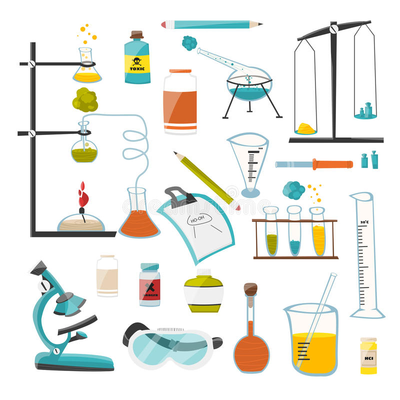 Un grand ensemble de dispositifs et d'équipement pour le produit chimique, un scientifique et la recherche expérimente Vecteur illustration libre de droits