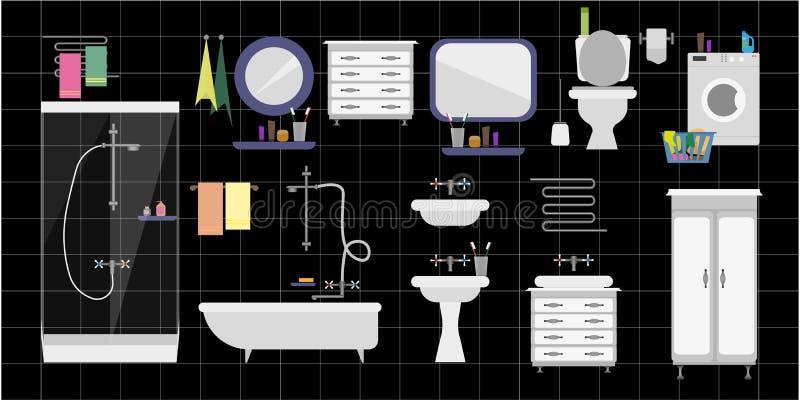 Un grand ensemble de garnitures intérieures pour la salle et la salle de bains de toilette contre illustration de vecteur