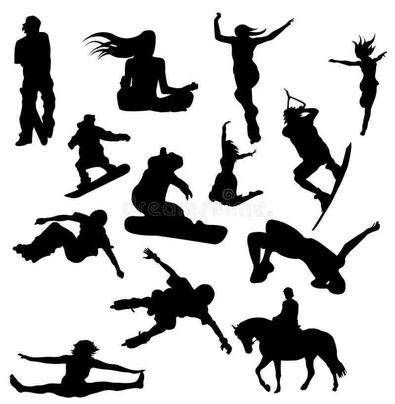 Un grand ensemble de silhouettes de vecteur - sports illustration de vecteur
