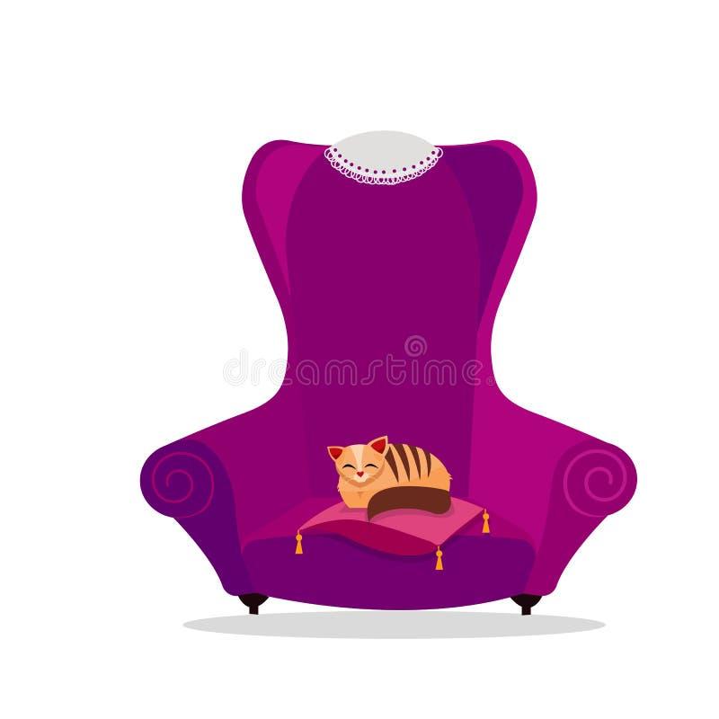 Un grand fauteuil pourpre de cru confortable avec un chat dormant sur un oreiller Serviette de dentelle sur le dos élevé de la ch illustration libre de droits