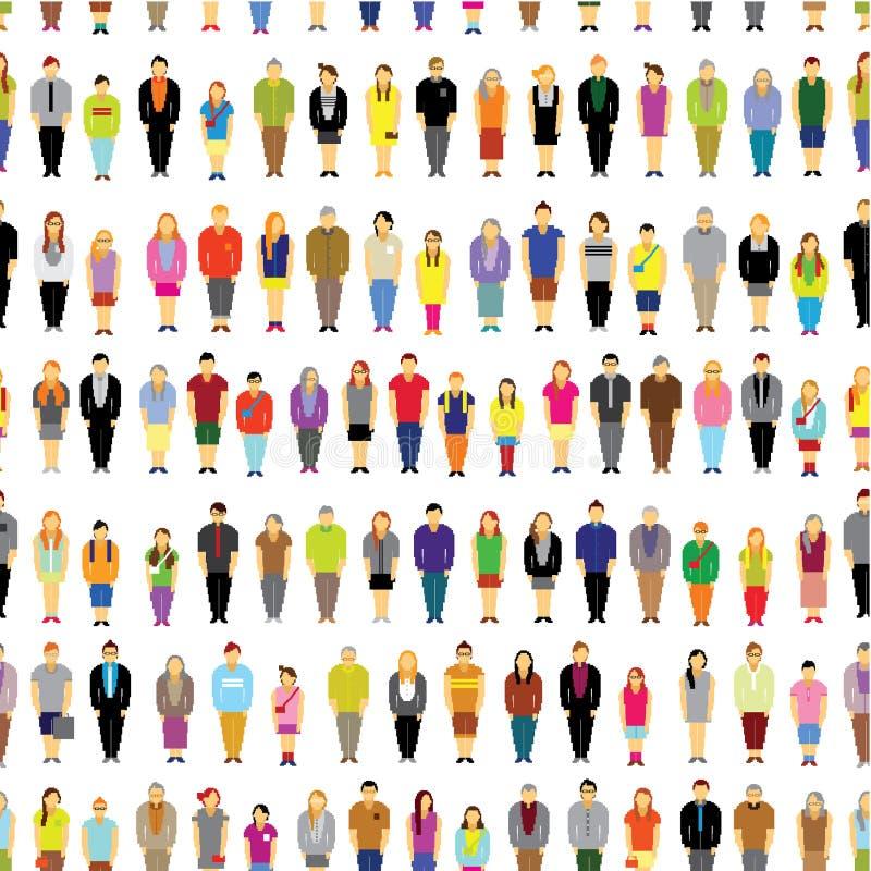 Un grand groupe de personnes recueillent ensemble sans couture illustration libre de droits