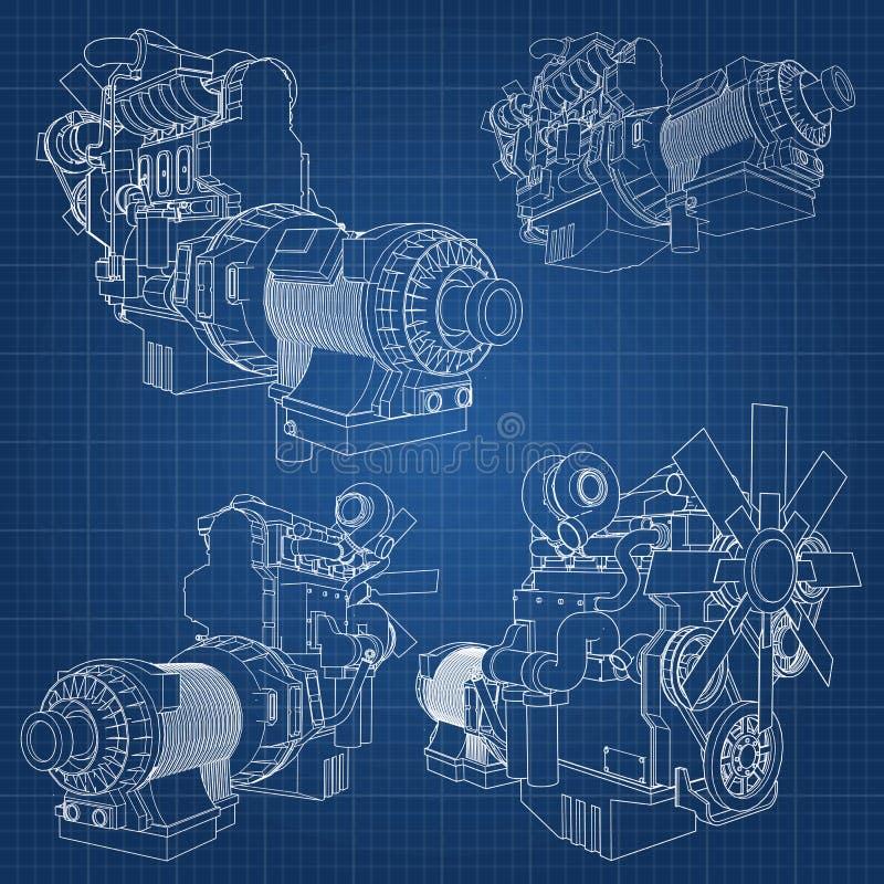 Un grand moteur diesel avec le camion représenté dans les courbes de niveau sur le papier de graphique Les découpes de la ligne n illustration stock