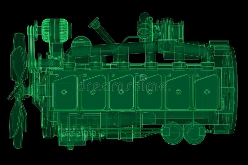 Un grand moteur diesel avec le camion représenté dans les courbes de niveau sur le papier de graphique Les découpes de la Ligne V illustration libre de droits