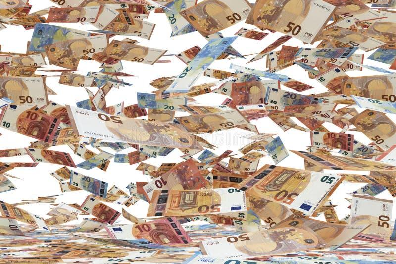 Un grand nombre d'euro billets de banque tombant vers le bas, sur le fond blanc photographie stock libre de droits