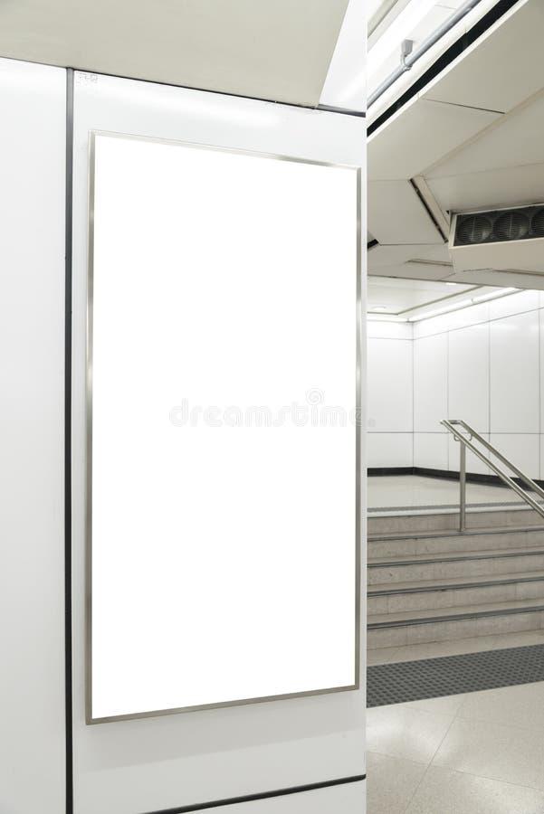 Un grand panneau d'affichage de blanc d'orientation de verticale/portrait images libres de droits
