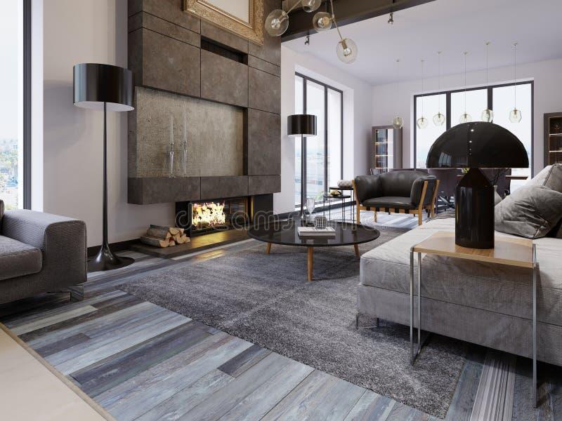 Un grand salon spacieux dans un style de grenier, avec une cheminée et des meubles tapissés, de grandes fenêtres panoramiques et  illustration de vecteur