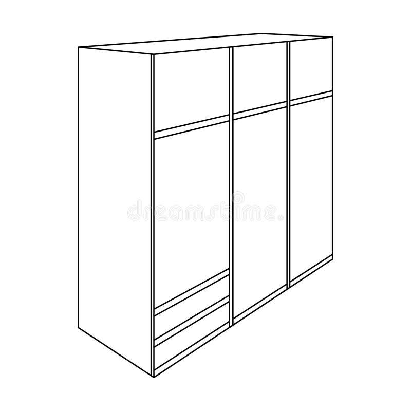 Un grande guardaroba della camera da letto con mirrow ed i lotti dei cassetti e delle cellule Icona della mobilia della camera da illustrazione di stock