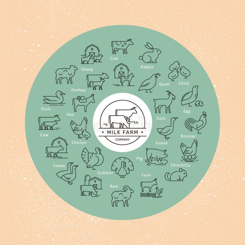 Un grande insieme circolare dell'icona di vettore degli animali rurali in uno stile lineare per il logos royalty illustrazione gratis