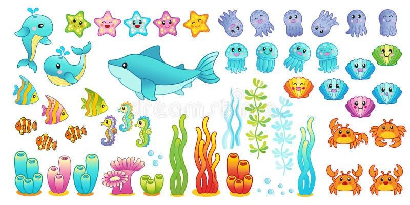 un grande insieme delle creature sveglie del mare, pesce tropicale, medusa, alghe illustrazione di stock