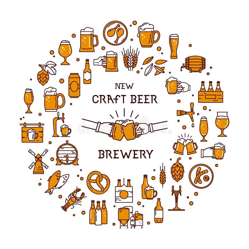 Un grande insieme delle icone variopinte sull'argomento di birra, della sua produzione e dell'uso nel formato di vettore illustrazione di stock