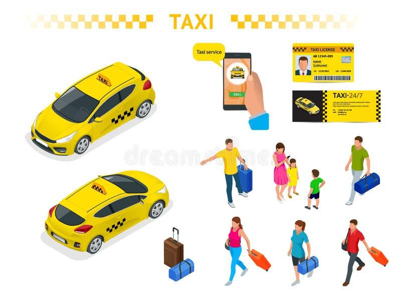 Un grande insieme delle immagini isomeriche di un'automobile del taxi, gente di viaggio con bagaglio, un'applicazione mobile di c royalty illustrazione gratis