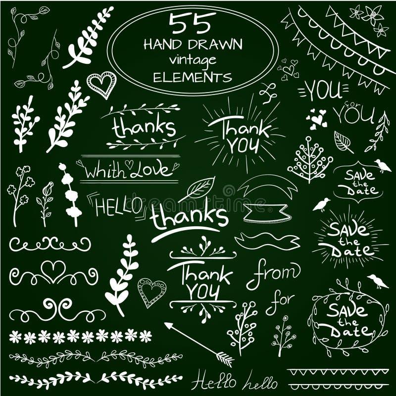 Un grande insieme di 55 elementi disegnati a mano di progettazione Vettore Bianco sulla lavagna verde illustrazione vettoriale