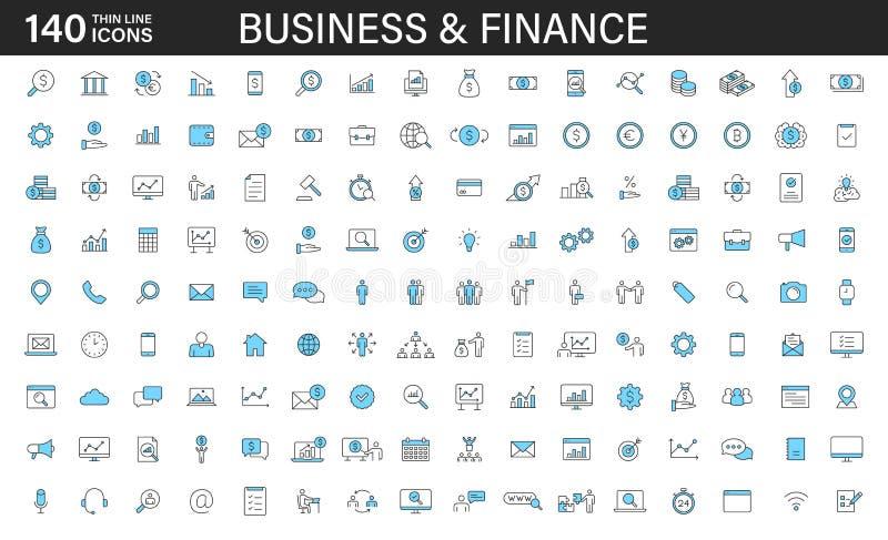 Un grande insieme icone di web di affari 140 e di finanza nella linea stile Soldi, banca, contatto, ufficio, pagamento, strategia royalty illustrazione gratis