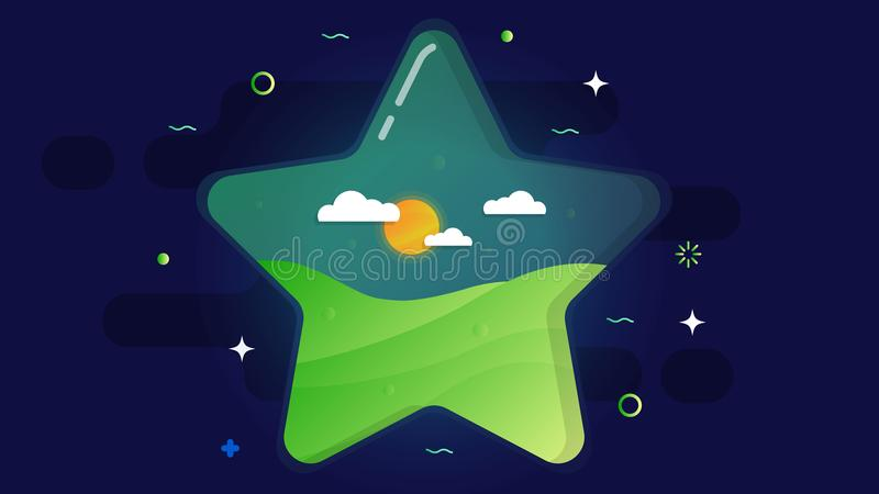 Un grande interno trasparente della stella che è un prato inglese, un sole e le nuvole verdi Su un fondo cosmico scuro illustrazione di stock