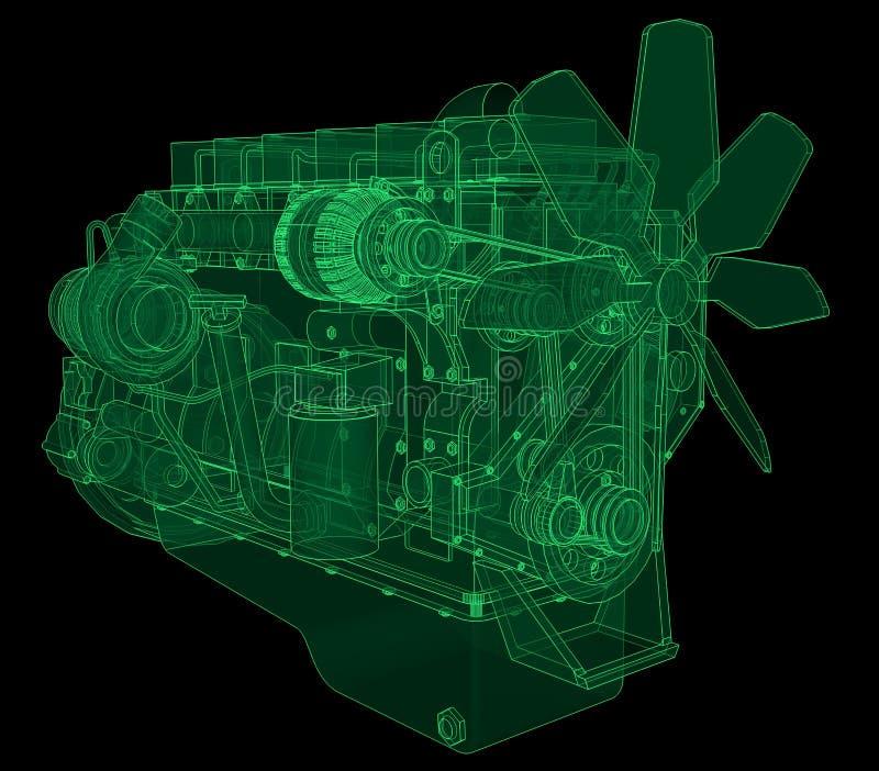 Un grande motore diesel con il camion rappresentato nelle linee di contorno su carta millimetrata I contorni della linea verde su illustrazione di stock